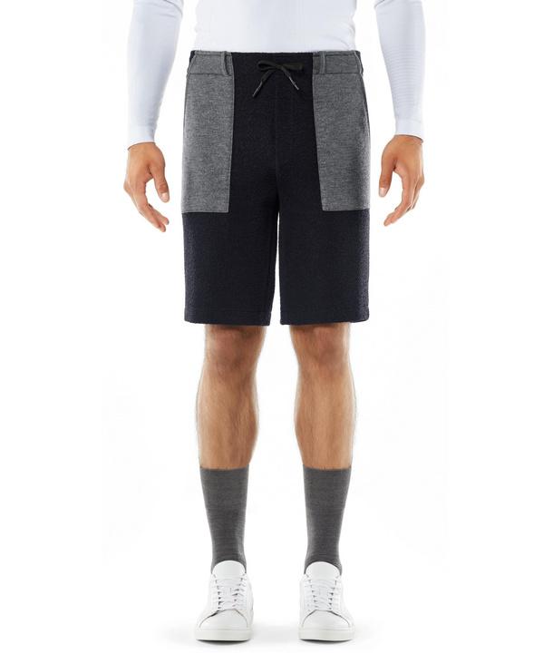 FALKE Herren Shorts, L, Blau, Struktur, Schurwolle, 62021-643704