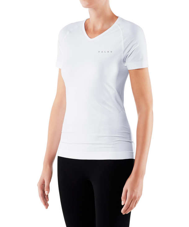 FALKE Damen Kurzarmshirt Warm, XS, Weiß, Uni, 39112-286001
