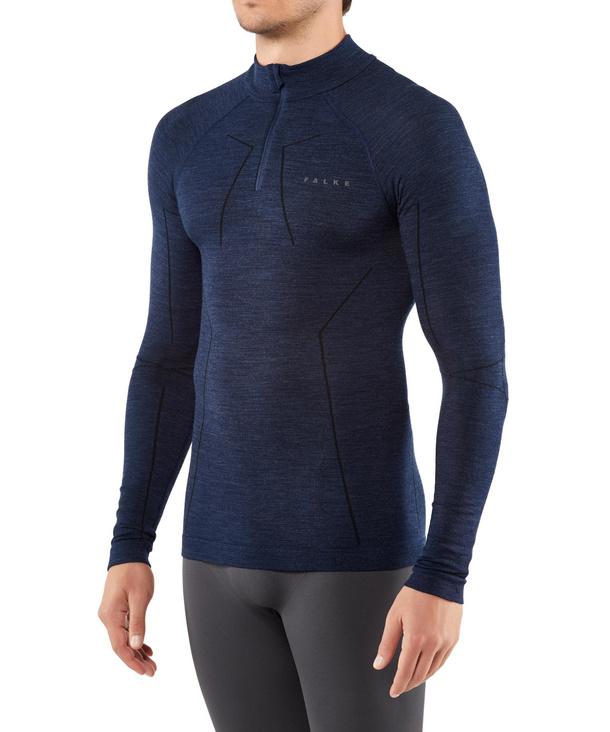 FALKE Herren Langarmshirt Wool-Tech, XXL, Blau, Uni, 33410-617706