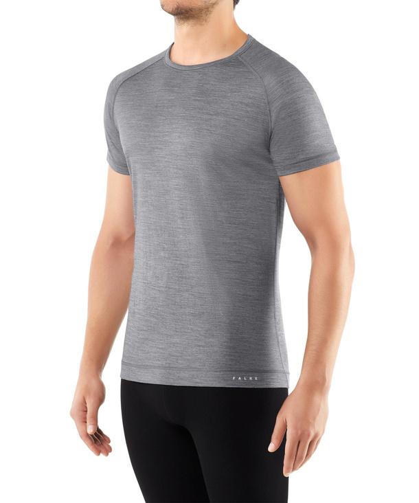 FALKE Herren Kurzarmshirt Silk-Wool, M, Grau, Uni, 33423-375703