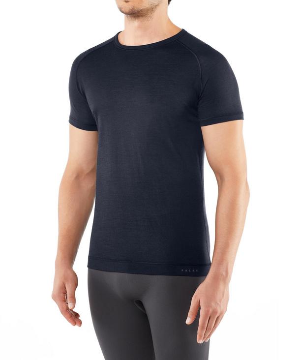 FALKE Herren Kurzarmshirt Silk-Wool, S, Blau, Uni, 33423-611601
