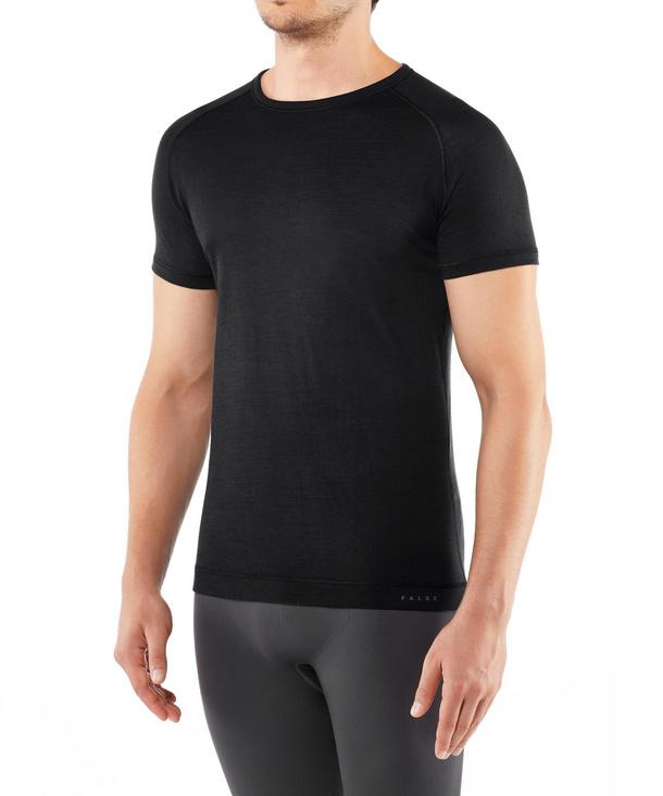 FALKE Herren Kurzarmshirt Silk-Wool, L, Grau, Uni, 33423-310404