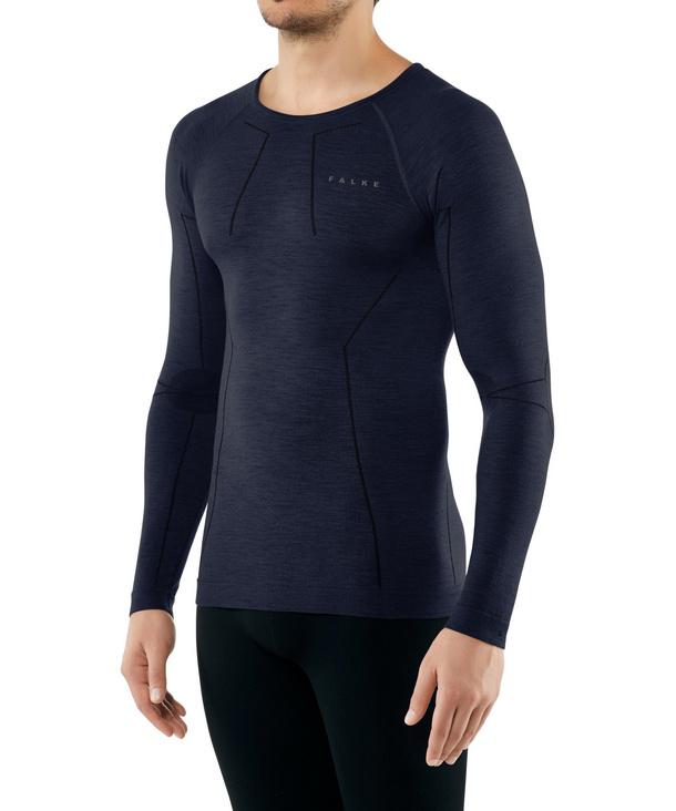 FALKE Herren Langarmshirt Wool-Tech, XL, Blau, Uni, 33411-617705