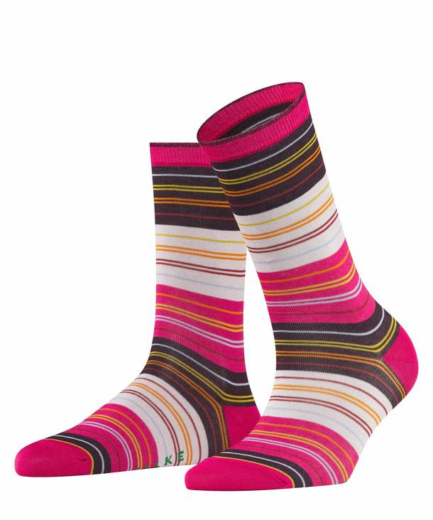 FALKE Polychromatic Damen Socken, 35-38, Pink, Streifen, Baumwolle, 46354-821801