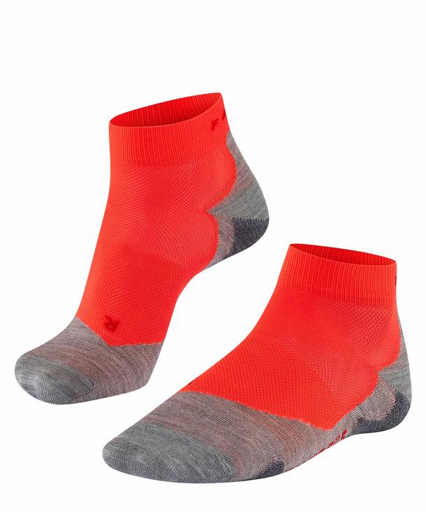 Neon Red Falke Womens Running 4 Cool Short Socks