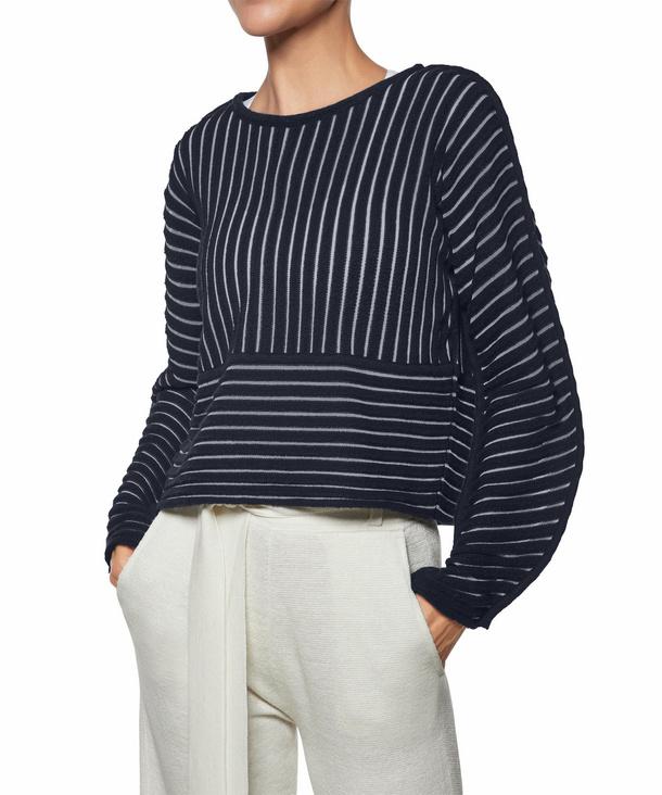 FALKE Damen Pullover Rundhals, S, Blau, Struktur, Schurwolle, 64064-643702