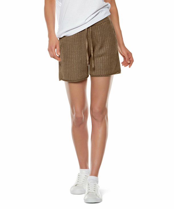 FALKE Damen Shorts, XS, Braun, Struktur, Leinen, 64061-512301