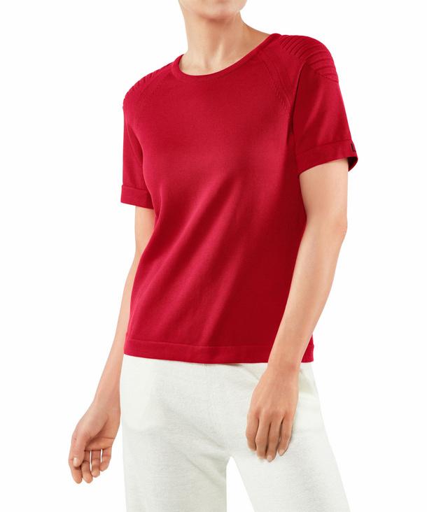 FALKE Damen T-Shirt Rundhals, L, Rot, Uni, Baumwolle, 64084-878404