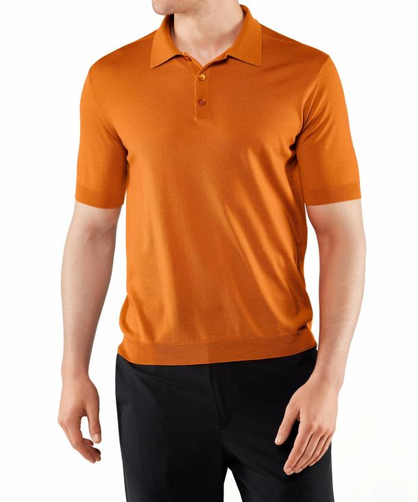 FALKE Herren Polo-Shirt, XXL, Orange, Uni, Schurwolle, 60045-826106