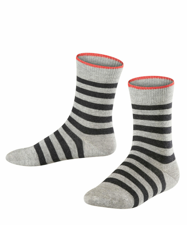 Falso|#Falke Kids Pencil Stripe Socks Light Grey 39-42